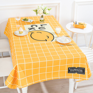 Smile face pattern digital printing waterproof tablecloth washable linen cotton rectangle table cover for kitchen