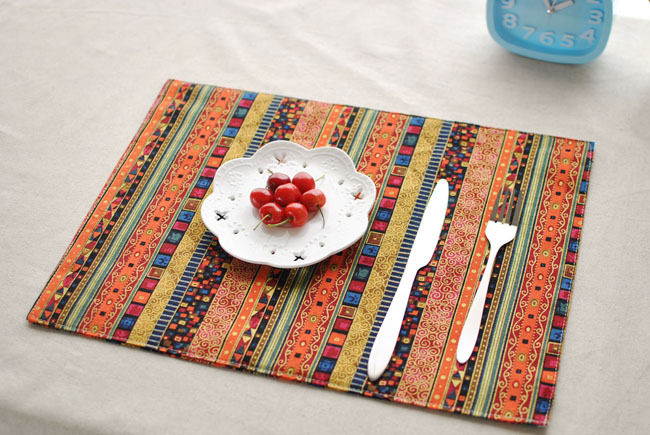 Home Decoration Bohemian Style Printed Cotton Linen Placemats Dining Table Mat